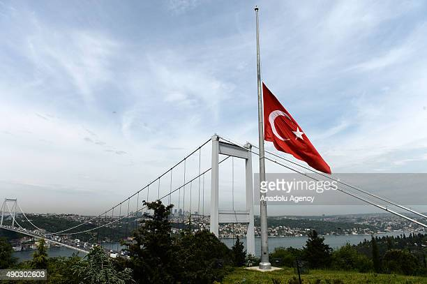 Turkish national flags fly at halfstaff in Istanbul Turkey on May 14 2014 Turkish Prime Ministry declares a 3 days national mourning following the...
