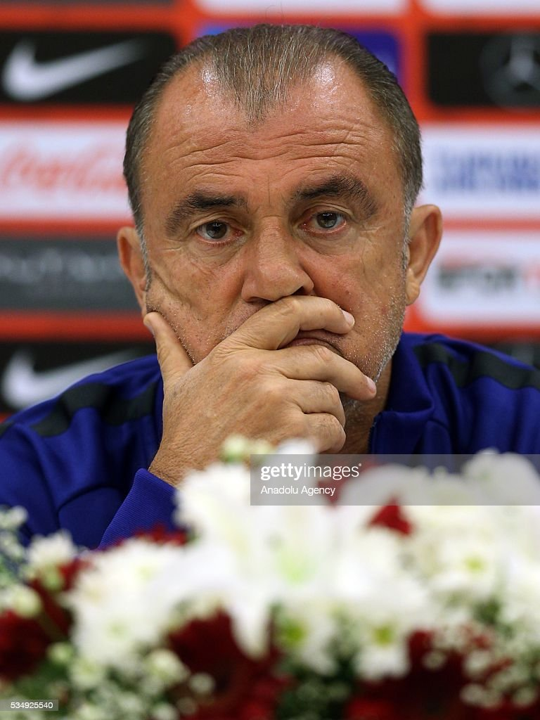 Turkish national football team head coach Fatih Terim attends a media conference at the Gloria Serenity Resort in Belek district of Turkey's Antalya province on May 28, 2016, ahead of a friendly game against Montenegro which will be played on May 29, 2016, at the Antalya Arena, as part of their Euro 2016 preparations.