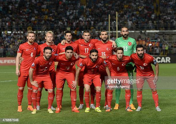 Turkish national football team pose prior to the UEFA Euro 2016 qualifying round Group A football match between Turkey and Kazakhstan at Ortalyk...