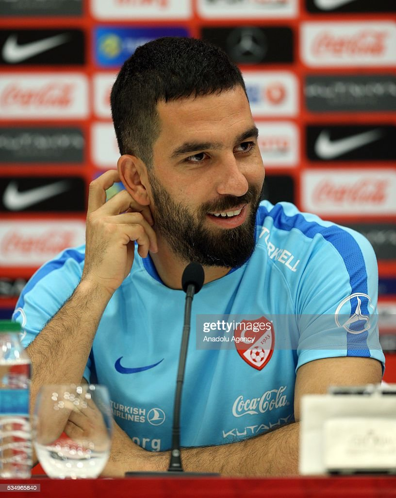 Turkish national football team's Arda Turan attends a media conference at the Gloria Serenity Resort in Belek district of Turkey's Antalya province on May 28, 2016, ahead of a friendly game against Montenegro which will be played on May 29, 2016, at the Antalya Arena, as part of their Euro 2016 preparations.