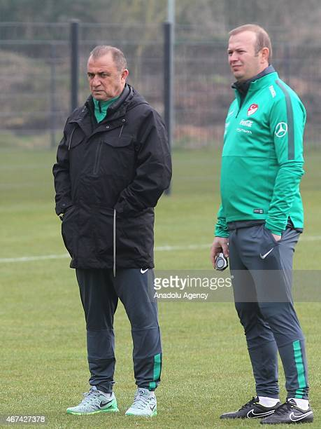Turkish National Team's head coach Fatih Terim attends the training ahead of UEFA Euro 2016 qualifying match between Turkey and The Netherlands which...
