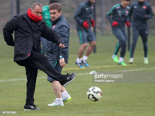 Turkish National Team's head coach Fatih Terim attends the training session ahead of UEFA Euro 2016 qualifying match between Turkey and The...