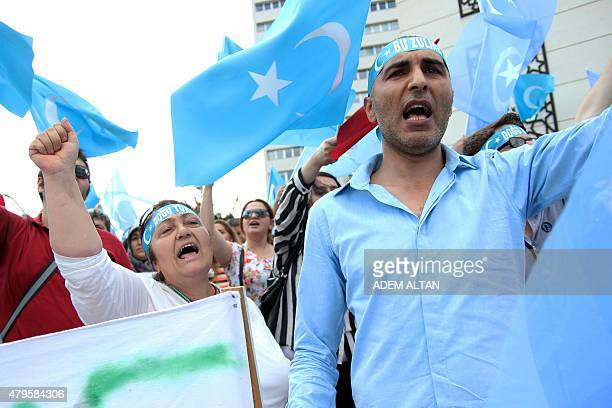 Turkish nationalists demonstrate in front of the Chinese Embassy in Ankara on July 5 2015 to denounce the Chinese goverment policy on Uighur Muslims...