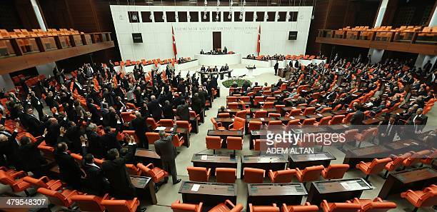Turkish opposition lawmakers vote during a special session of the parliament in Ankara March 19 2014 Turkey's parliament reconvened on March 19 for...