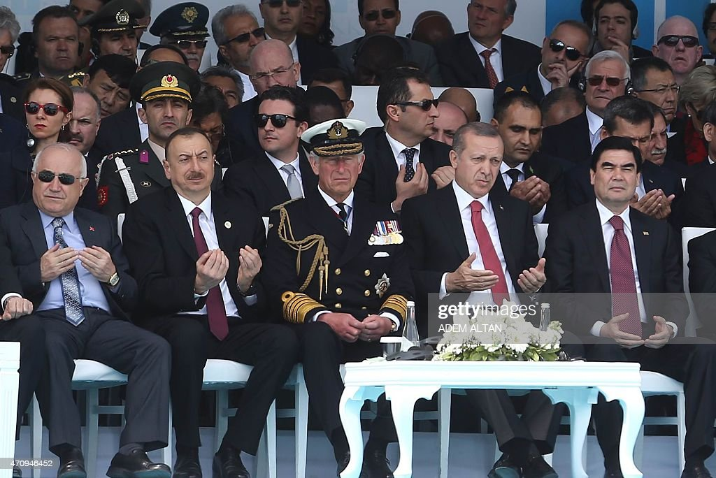 Turkish Parliament Speaker Cemil Cicek (L), Azerbaijani President <a gi-track='captionPersonalityLinkClicked' href=/galleries/search?phrase=Ilham+Aliyev&family=editorial&specificpeople=565601 ng-click='$event.stopPropagation()'>Ilham Aliyev</a> (2-L), Britain's Prince of Wales, <a gi-track='captionPersonalityLinkClicked' href=/galleries/search?phrase=Prince+Charles&family=editorial&specificpeople=160180 ng-click='$event.stopPropagation()'>Prince Charles</a> (C), Turkish President <a gi-track='captionPersonalityLinkClicked' href=/galleries/search?phrase=Recep+Tayyip+Erdogan&family=editorial&specificpeople=213890 ng-click='$event.stopPropagation()'>Recep Tayyip Erdogan</a> (2-R), and Turkmenistan President Gurbanguly Berdimuhamedov attend the commemoration ceremony marking the 100th anniversary of the start of the Battle of Gallipoli, on April 24, 2015 at the Turkish Canakkake Memorial. A century ago, Allied troops waded ashore on the Gallipoli peninsula at the start of an ill-fated land campaign to wrest the Dardanelles Strait from the Ottoman Empire. The disastrous World War I battle began on April 25, 1915, and pitted troops from countries including Australia, Britain, France and New Zealand against the Ottoman forces backed by Germany.