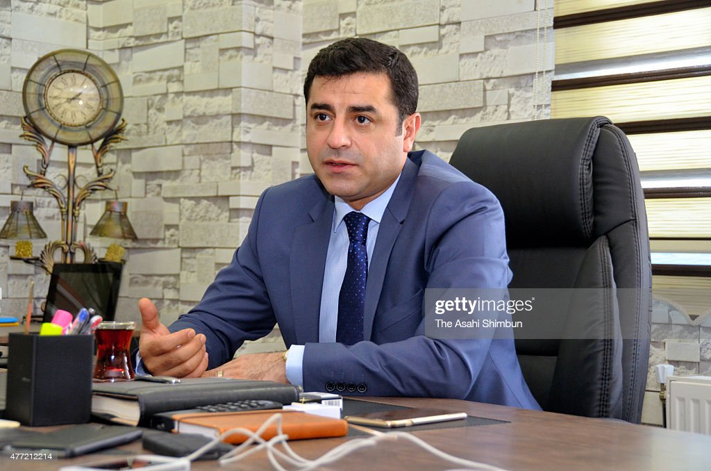 Turkish Peoples' Democratic Party Chairman Selahattin Demirtas speaks during the Asahi Shimbun interview on June 12, 2015 in Diyarbakir, Turkey.