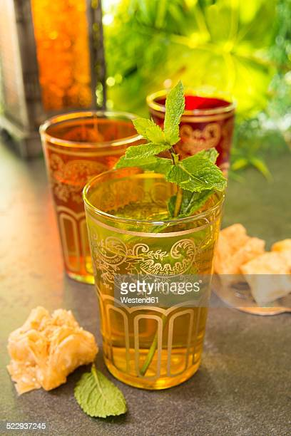 Turkish Peppermint Tea in a glass with fresh peppermint