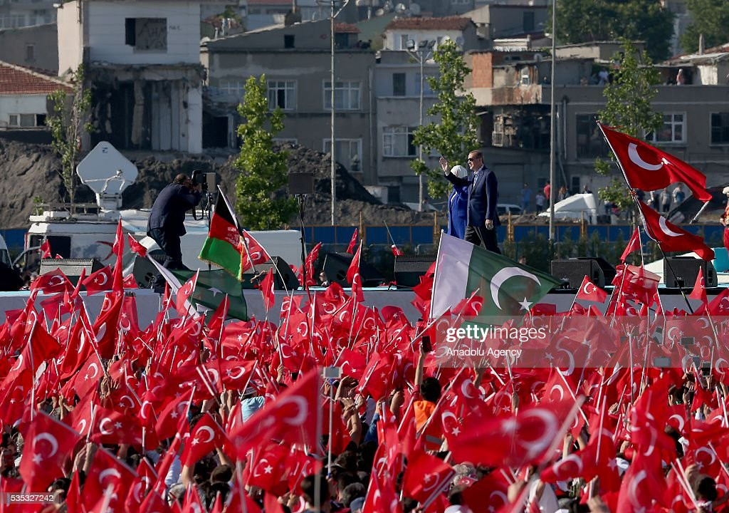 Turkish Pesident Recep Tayyip Erdogan (R) and his wife Emine Erdogan (L) attend the celebrations of the 563rd anniversary of Istanbuls conquest by Turks at Yenikapi Event Area in Istanbul, Turkey on May 29, 2016. On May 29, 1453, Ottoman Sultan Mehmed II (Mehmet the Conqueror) conquered Istanbul, then called Constantinople, from where the Byzantines had ruled the Eastern Roman Empire for more than 1,000 years. The conquest transformed the city, once the heart of the Byzantine realm, into the capital of the new Ottoman Empire.