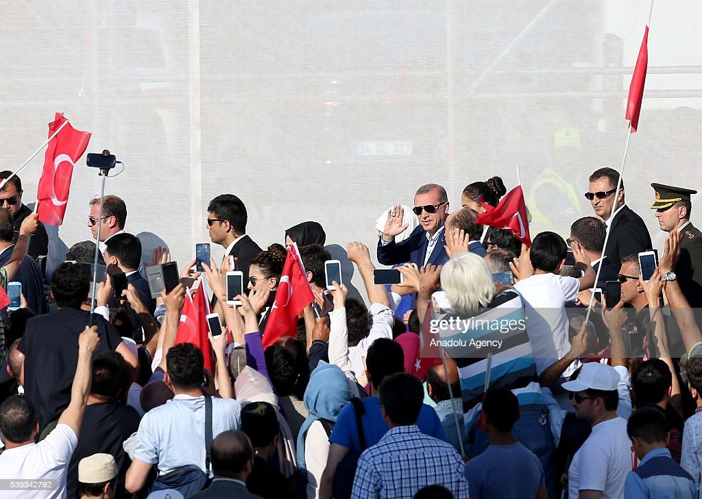Turkish Pesident Recep Tayyip Erdogan (C) and his wife Emine Erdogan attend the celebrations of the 563rd anniversary of Istanbuls conquest by Turks at Yenikapi Event Area in Istanbul, Turkey on May 29, 2016. On May 29, 1453, Ottoman Sultan Mehmed II (Mehmet the Conqueror) conquered Istanbul, then called Constantinople, from where the Byzantines had ruled the Eastern Roman Empire for more than 1,000 years. The conquest transformed the city, once the heart of the Byzantine realm, into the capital of the new Ottoman Empire.