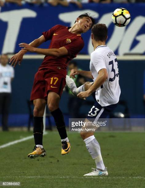 Turkish Player Cengiz Under of AS Roma in action against Davies of Tottenham Hotspur during a friendly match between AS Roma and Tottenham Hotspur...