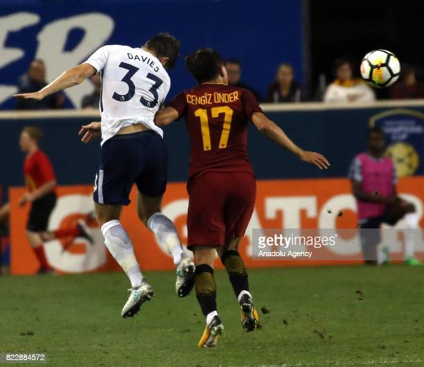 Turkish Player Cengiz Under of AS Roma in action against Davies of Tottenham during a friendly match between AS Roma and Tottenham within...
