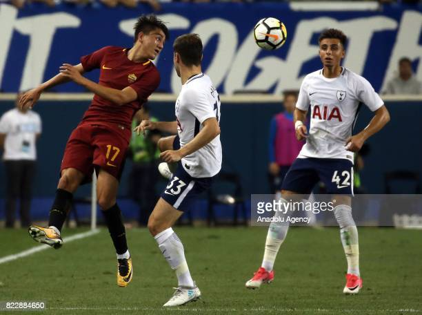 Turkish Player Cengiz Under of AS Roma in action against Davies of Tottenham Hotspur during a friendly match between AS Roma and Tottenham within...