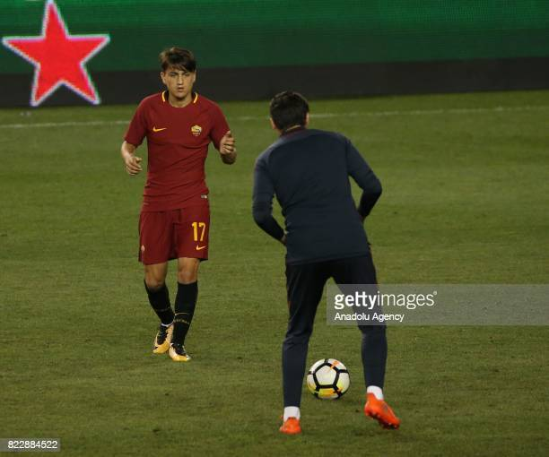 Turkish Player Cengiz Under of AS Roma warms up before a friendly match between AS Roma and Tottenham Hotspur within International Champions Cup 2017...