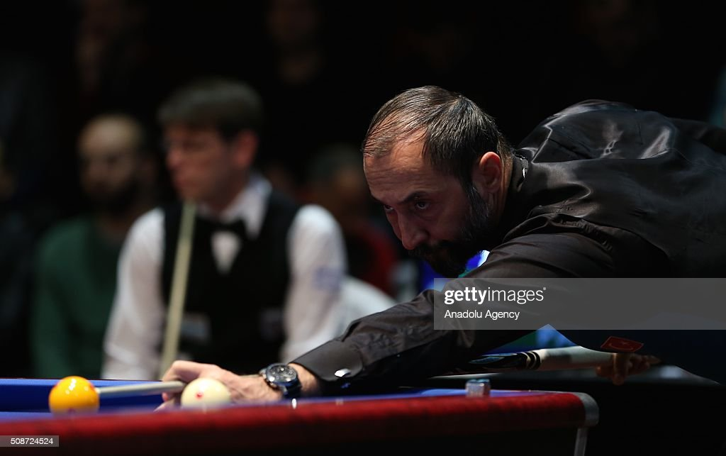 Turkish player Semih Sayginer competes during the Carom Billiards World Cup organized by Union Mondiale de Billard (UMB) and Turkish Billiard Federation in Bursa, Turkey on February 6, 2016.