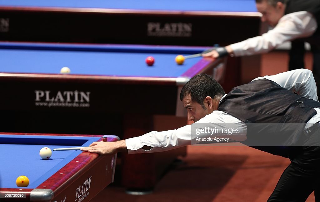 Turkish player Tayfun Tasdemir competes during the Carom Billiards World Cup organized by Union Mondiale de Billard (UMB) and Turkish Billiard Federation in Bursa, Turkey on February 6, 2016.