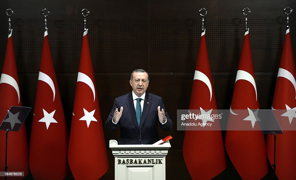 Turkish PM Recep Tayyip Erdogan announces the Democratization Package on September 30 in Ankara, Turkey. The Democratization Package includes the removal of the ban on women wearing headscarves in public.