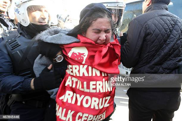 Turkish police arrest people who were planning to demonstrate in front of the controversial new palace of Turkish President on February 6 2015 to...