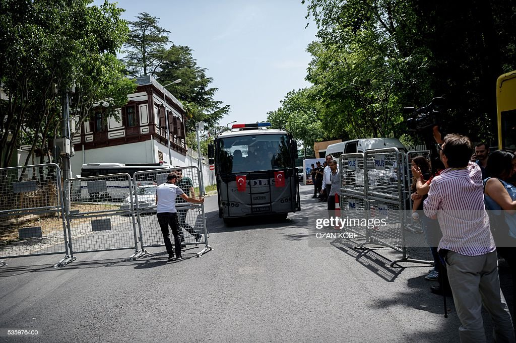 A Turkish police bus beleived to be transporting members of the Turkish Architects Assosiation and Taksim Solidarity who were detained drives past Yildiz Palace in Istanbul on May 31, 2016 on the third anniversary of the start of the Gezi Park protests. The Gezi Park protests which began in May 2013, were sparked by the heavy-handed eviction of demonstrators staging a sit-in protest against the redevelopment of the area and grew into often violent clashes with police as people demonstrated against much broader issues concerning perceived infringements of civil rights. / AFP / OZAN