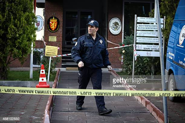 Turkish police is seen outside the building of embassies of Mexico Croatia and Norwegian where Disaster and Emergency Management Presidency of Turkey...
