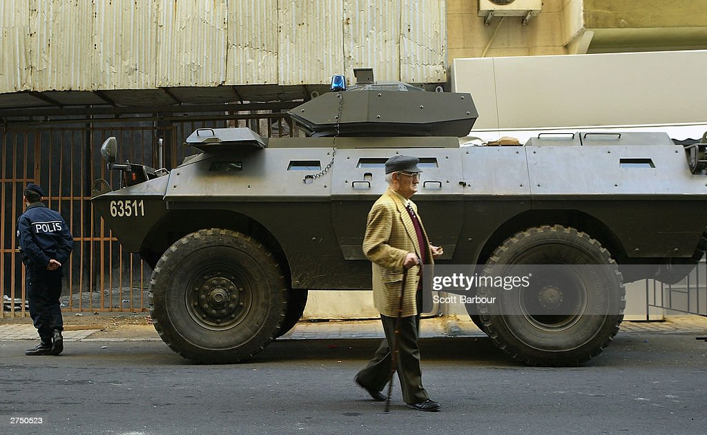 Turkish Police patrol the area with a tank near the scene of the British Consulate bombing November 21, 2003 in Istanbul, Turkey. Bomb attacks on the British consulate and the HSBC bank headquarters on November 20, 2003 killed at least 27 people and left hundreds injured.