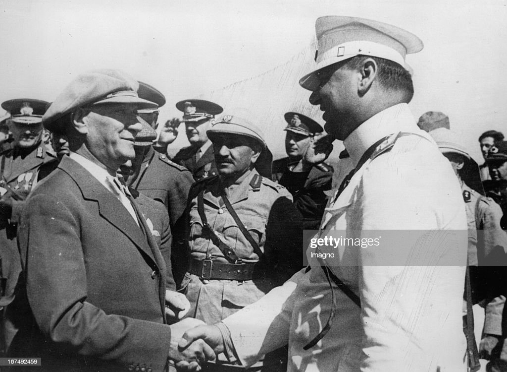 Turkish politician and the first President of the Republic of Turkey Mustafa Kemal Atatürk during a maneuver in Traxien. 1937. Photograph. (Photo by Imagno/Getty Images) Der türkische Politiker und erster Präsident der Republik Türkei Mustafa Kemal Atatürk bei einem Manöver in Traxien. 1937. Photographie.