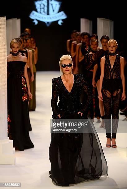 Turkish popstar and singer Ajda Pekkan attends MercedesBenz Fashion week as the models display a creation by Raisa Sason and Vanessa Sason on the 4th...
