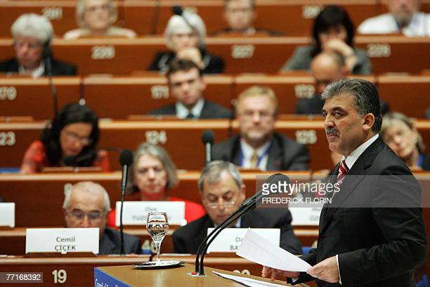 Turkish President Abdullah Gul addresses the Council of Europe at the European Parliament 03 October 2007 in the northeastern French city of...