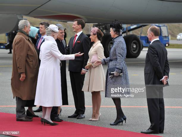 Turkish President Abdullah Gul and his wife Hayrunnisa Gul are welcomed by Queen Margrethe II of Denmark and her husband Prince Henrik at Copenhagen...