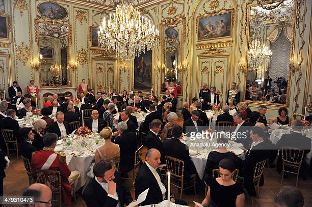 Turkish President Abdullah Gul attends a dinner given in honor of him by Queen Margrethe II at Amalienborg Palace in Copenhagen Denmark on March 17...