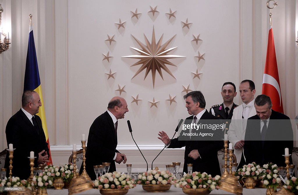 Turkish President <a gi-track='captionPersonalityLinkClicked' href=/galleries/search?phrase=Abdullah+Gul&family=editorial&specificpeople=539775 ng-click='$event.stopPropagation()'>Abdullah Gul</a> (center right) gives a dinner in honor of Romanian President Traian Basescu (center left) at the Cankaya Presidential Palace in Ankara, Turkey, on February 5, 2014. Romanian President Traian Basescu has arrived in Ankara for a two-day official visit on Wednesday.