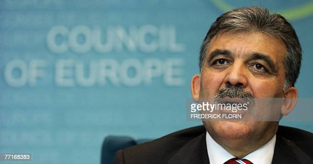 Turkish President Abdullah Gul gives a press conference after addressing the Council of Europe at the European Parliament 03 October 2007 in the...