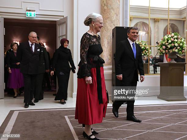 Turkish President Abdullah Gul his wife Hayrunnisa Gul and Queen Margrethe II of Denmark and her husband Prince Consort Henrik arrive for a reception...
