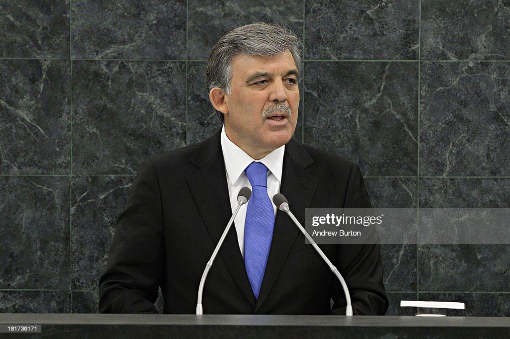 Turkish President <a gi-track='captionPersonalityLinkClicked' href=/galleries/search?phrase=Abdullah+Gul&family=editorial&specificpeople=539775 ng-click='$event.stopPropagation()'>Abdullah Gul</a> speaks at the 68th United Nations General Assembly on September 24, 2013 in New York City. Over 120 prime ministers, presidents and monarchs are gathering this week for the annual meeting at the temporary General Assembly Hall at the U.N. headquarters while the General Assembly Building is closed for renovations.