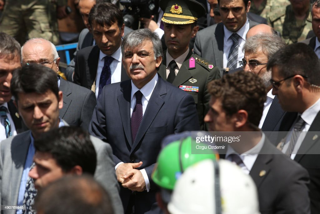 Turkish President Abdullah Gul visits the mine after a coal mine explosion on May 15 2014 in Soma Turkey Loudspeakers broadcast the names of the dead...