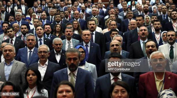 Turkish President and ruling Justice and Development Party chairman Recep Tayyip Erdogan and Turkey's Prime Minister of Turkey Binali Yildirim attend...