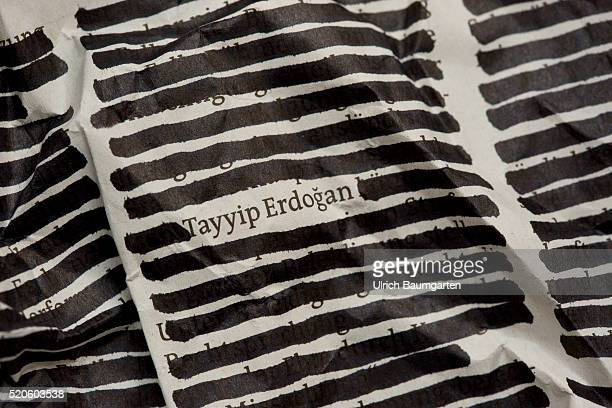 Turkish President and the press freedom The feature shows a 'cencored' newspaper articl with the readable name Tayyip Erdogan