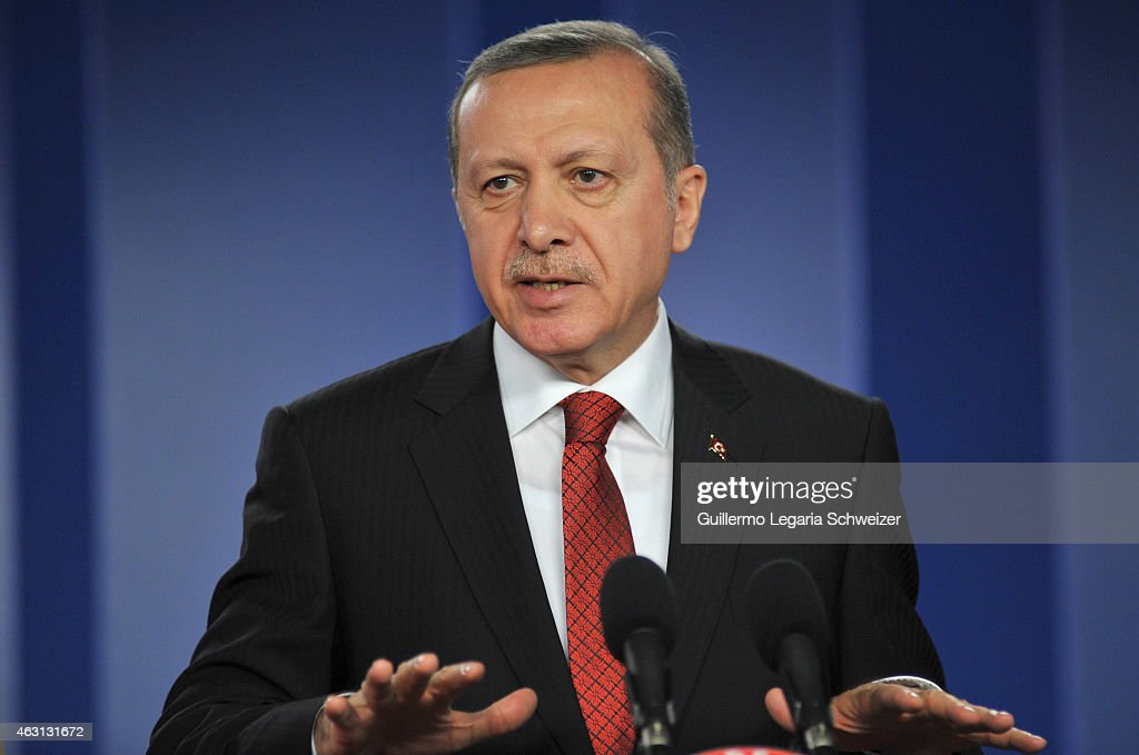 Turkish president Recep Tayyip Erdoga speaks during a joint press conference with Colombian president Juan Manuel Santos after a meeting at Narino...