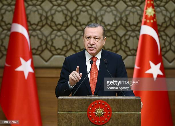 Turkish President Recep Tayyip Erdogan addresses local administrators at Presidential Palace in Ankara Turkey on January 04 2017