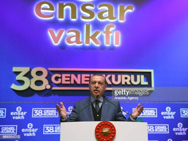 Turkish President Recep Tayyip Erdogan addresses the crowd during the meeting of Ensar Foundation at the Halic Congress Center in Istanbul Turkey on...