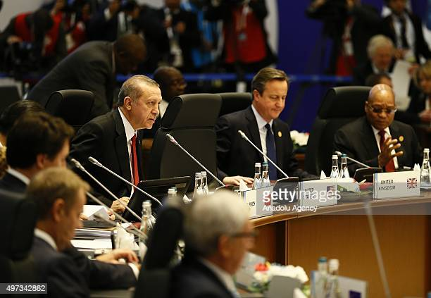 Turkish President Recep Tayyip Erdogan addresses the Working session1 on the 'Inclusive Growth Global Economy Growth Strategies Employment and...
