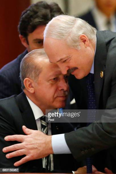 Turkish President Recep Tayyip Erdogan and Belarus President Alexander Lukashenko attend a summit at the Belt and Road Forum on May 15 2017 in...