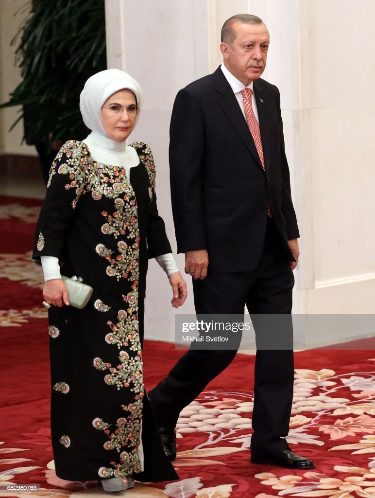 Turkish President Recep Tayyip Erdogan and his wife Emina Erdogan arrive to the dinner during the Belt and Road Forum for International Cooperation in Beijing, China on May 14, 2017. President of Russia Vladimir Putin is on a two-day visit to China.