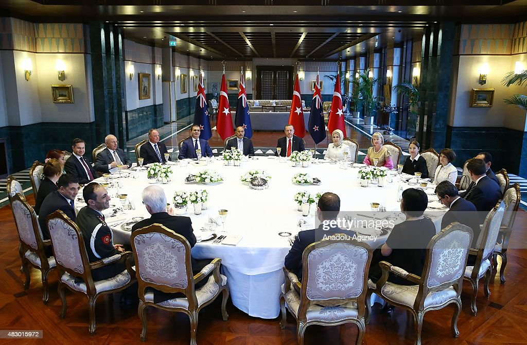 Turkish President Recep Tayyip Erdogan and his wife Emine Erdogan host a dinner in honor of New Zealand's GovernorGeneral Jerry Mateparae and his...