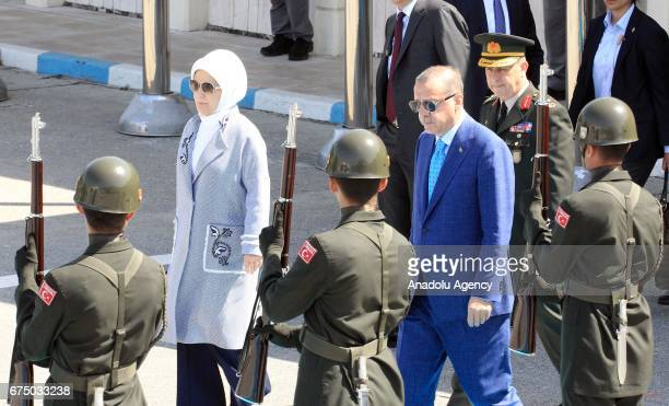 Turkish President Recep Tayyip Erdogan and his wife Emine Erdogan are seen ahead of their departure for India at Istanbul Ataturk Airport on April 30...