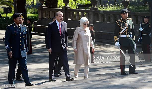 Turkish President Recep Tayyip Erdogan and his wife Emine Erdogan visit the National Monuments of Mexico during his official visit in Mexico on...