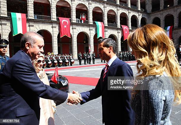Turkish President Recep Tayyip Erdogan and his wife Emine Erdogan meet Mexican President Enrique Pena Nieto and his wife Angelica Rivera in Mexico...