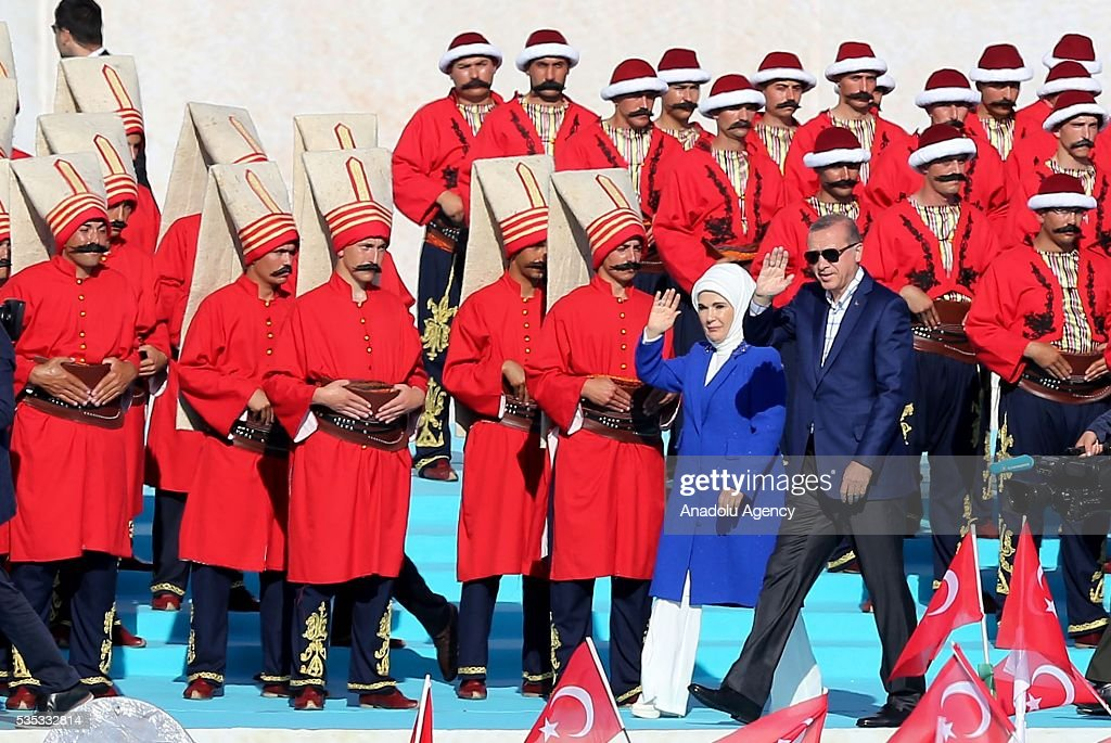 Turkish President Recep Tayyip Erdogan (R) and his wife Emine Erdogan (L) salute the participants attend the celebrations of the 563rd anniversary of Istanbuls conquest by Turks at Yenikapi Event Area in Istanbul, Turkey on May 29, 2016. On May 29, 1453, Ottoman Sultan Mehmed II (Mehmet the Conqueror) conquered Istanbul, then called Constantinople, from where the Byzantines had ruled the Eastern Roman Empire for more than 1,000 years. The conquest transformed the city, once the heart of the Byzantine realm, into the capital of the new Ottoman Empire.