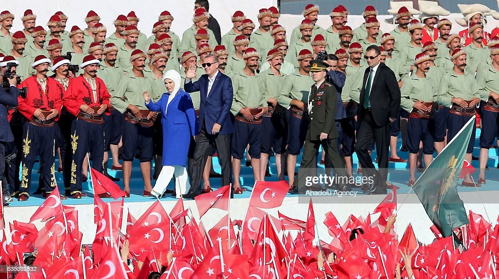 Turkish President Recep Tayyip Erdogan (2nd L) and his wife Emine Erdogan (L) salute the participants attend the celebrations of the 563rd anniversary of Istanbuls conquest by Turks at Yenikapi Event Area in Istanbul, Turkey on May 29, 2016. On May 29, 1453, Ottoman Sultan Mehmed II (Mehmet the Conqueror) conquered Istanbul, then called Constantinople, from where the Byzantines had ruled the Eastern Roman Empire for more than 1,000 years. The conquest transformed the city, once the heart of the Byzantine realm, into the capital of the new Ottoman Empire.