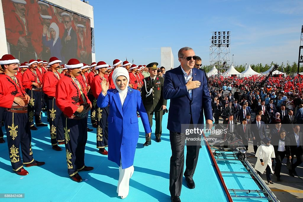 Turkish President Recep Tayyip Erdogan (R) and his wife Emine Erdogan (L) salute the participants as they attend the celebrations of the 563rd anniversary of Istanbuls conquest by Turks at Yenikapi Event Area in Istanbul, Turkey on May 29, 2016. On May 29, 1453, Ottoman Sultan Mehmed II (Mehmet the Conqueror) conquered Istanbul, then called Constantinople, from where the Byzantines had ruled the Eastern Roman Empire for more than 1,000 years. The conquest transformed the city, once the heart of the Byzantine realm, into the capital of the new Ottoman Empire