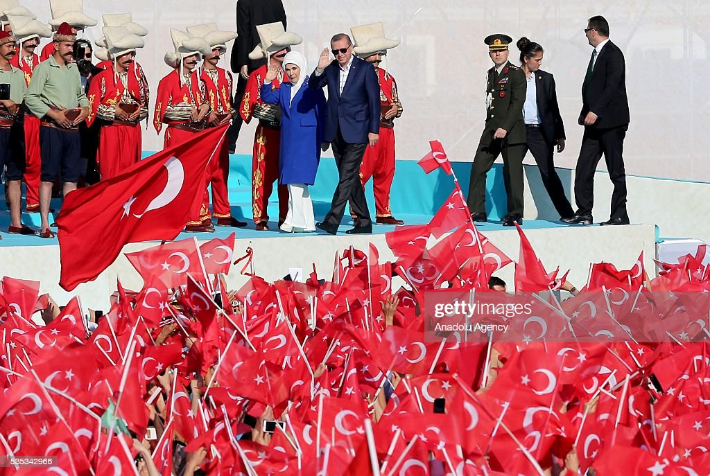 Turkish President Recep Tayyip Erdogan (Center R) and his wife Emine Erdogan (Center L) salute the participants attend the celebrations of the 563rd anniversary of Istanbuls conquest by Turks at Yenikapi Event Area in Istanbul, Turkey on May 29, 2016. On May 29, 1453, Ottoman Sultan Mehmed II (Mehmet the Conqueror) conquered Istanbul, then called Constantinople, from where the Byzantines had ruled the Eastern Roman Empire for more than 1,000 years. The conquest transformed the city, once the heart of the Byzantine realm, into the capital of the new Ottoman Empire.